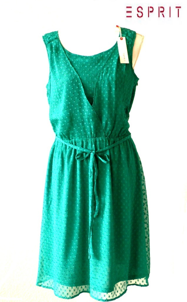 neu esprit damen kleid gepunktet gr 40 gr n green lake 318. Black Bedroom Furniture Sets. Home Design Ideas
