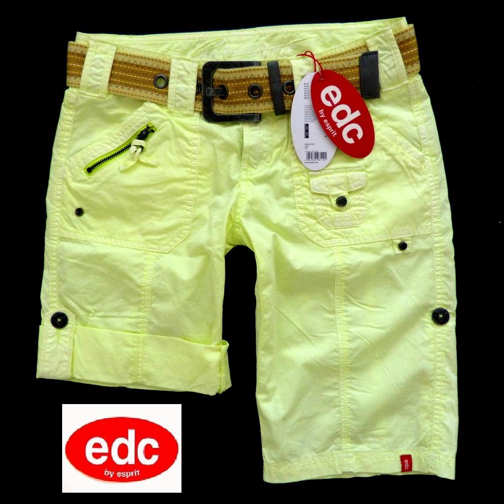 wow edc esprit play turn up damen bermuda cargo shorts hose xs 34 gelb neu ebay. Black Bedroom Furniture Sets. Home Design Ideas