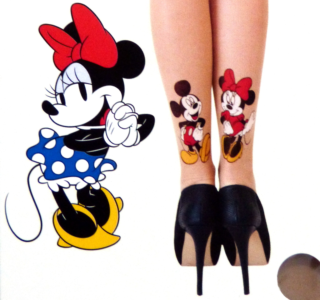 neu primark disney minnie maus mickey mouse tattoo strumpfhose l xl 40 50 nude ebay. Black Bedroom Furniture Sets. Home Design Ideas