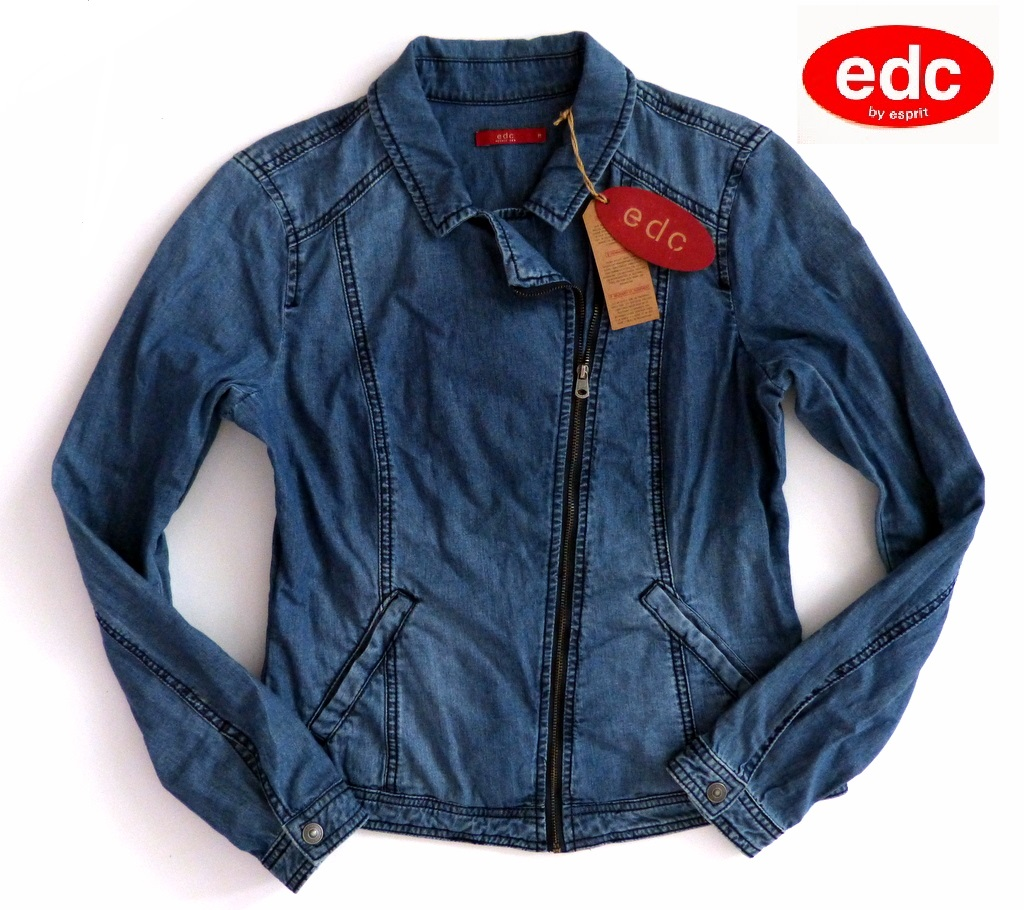 wow edc esprit damen jeans jacke gr s m l 36 38 40 sommer denim blau neu ebay. Black Bedroom Furniture Sets. Home Design Ideas