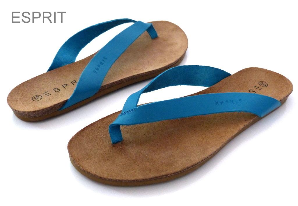 neu esprit damen sandalen echt leder zehentrenner kendra. Black Bedroom Furniture Sets. Home Design Ideas