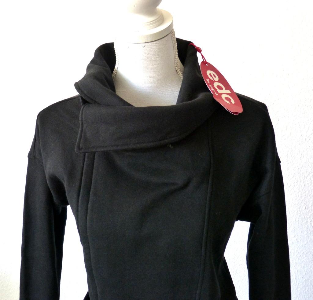 neu edc esprit damen long sweatjacke sweat jacke pullover s 36 38 schwarz ebay. Black Bedroom Furniture Sets. Home Design Ideas