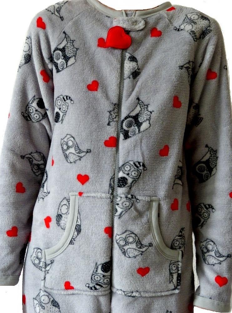 neu primark eule damen overall onesie fleece pyjama schlafanzug s m l xl herz ebay. Black Bedroom Furniture Sets. Home Design Ideas