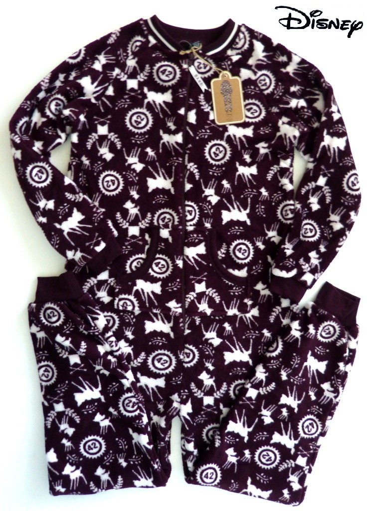 neu disney bambi damen fleece schlafoverall pyjama onesie s m l xl primark ebay. Black Bedroom Furniture Sets. Home Design Ideas