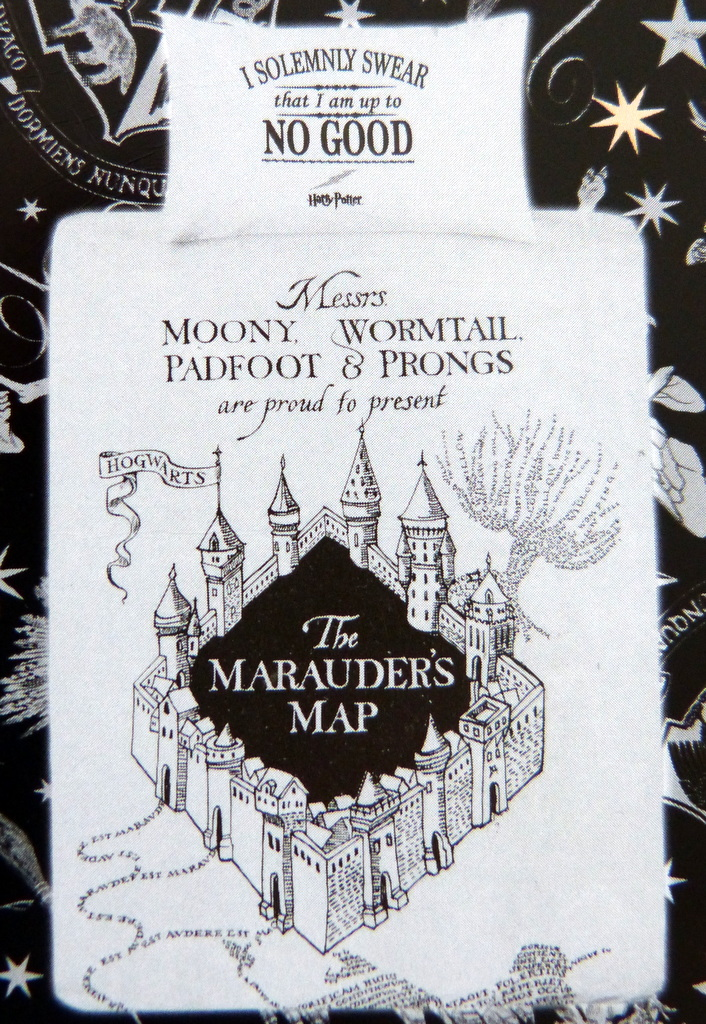 neu harry potter bettw sche set the marauder 39 s map 135 x. Black Bedroom Furniture Sets. Home Design Ideas