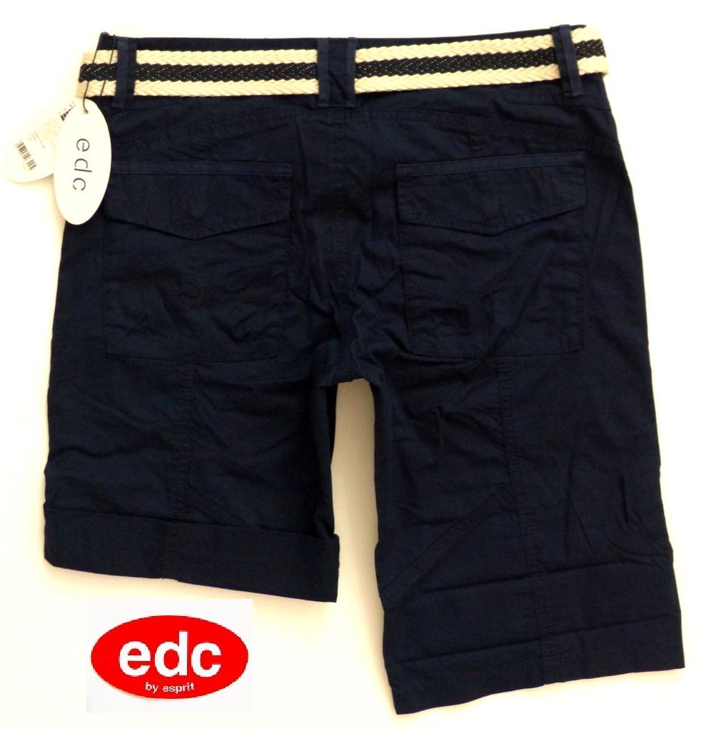 neu edc esprit play turn up damen cargo bermuda shorts g rtel hose 36 s blau ebay. Black Bedroom Furniture Sets. Home Design Ideas