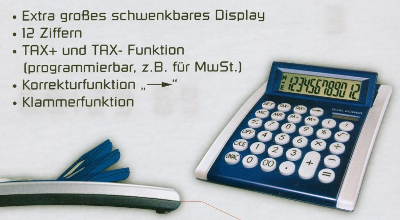 gro es tischrechner taschenrechner tax funktion dual power blau ebay. Black Bedroom Furniture Sets. Home Design Ideas